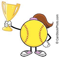 wedstrijdbeker, meisje, softbal, vasthoudende kop
