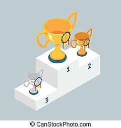 wedstrijdbeker, podium, winnaars, koppen, toewijzen