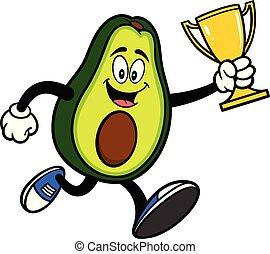 wedstrijdbeker, rennende , avocado, mascotte