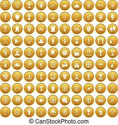 wedstrijdbeker, set, goud, iconen, prijzen, honderd