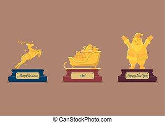 wedstrijdbeker, set, kerstmis, goud