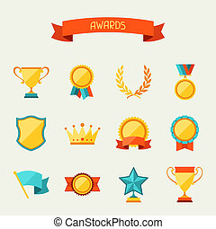 wedstrijdbeker, set., prijzen, iconen