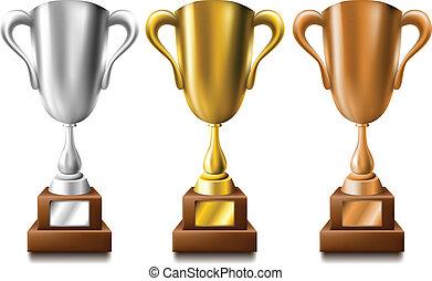 wedstrijdbeker, set, zilver, brons, goud
