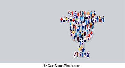 wedstrijdbeker, staand, concept, zakelijk, menigte, kop, groot, mensen, businesspeople, samen, getal, vorm, plek, overwinning, horizontaal, een, eerst