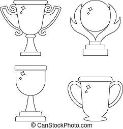 wedstrijdbeker, stijl, set, kop, winnaar, web., moderne, icons., vrijstaand, achtergrond., witte , vector, prijzen, illustratie, schoonmaken, lijn, ontwerp