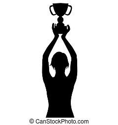 wedstrijdbeker, vrouw, kampioenschap, silhouette, vasthouden