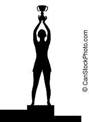 wedstrijdbeker, vrouw, silhouette, podium, kampioenschap, vasthouden