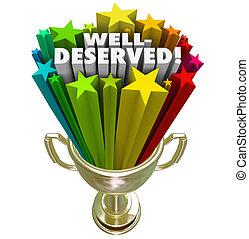 wedstrijdbeker, well-deserved, winnaar, eer, toewijzen