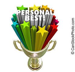 wedstrijdbeker, winnaar, persoonlijk, vervulling, trots, ...