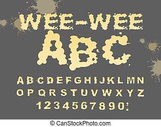 wee-wee, alphabet., υγρό , abc., ούρα , υγρό , κίτρινο , typography., font., γράμματα , piss