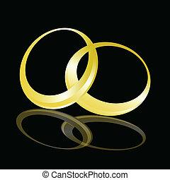 weeding gold ring vector