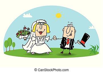 weeding - Karen and Joe get married. They are very happy