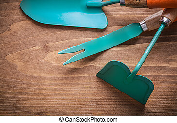 Weeding scoop hand spade hoe on wood board gardening concept