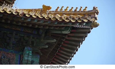 weeds grass & sculpture on roof eaves.China ancient...