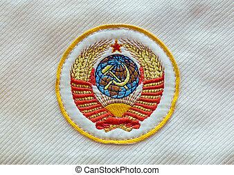 weefsel, sovjet, ussr, embleem, met, hamer en sikkel