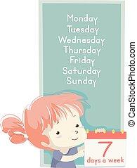 week, dagen, illustratie, meisje, les, geitje