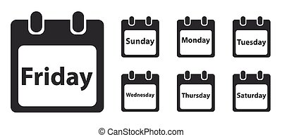 Week day icon set, monochrome - Week day icon set, calendar...