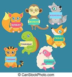 week, dieren, week., dagen, tekens & borden, houden