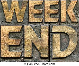 week-end, bois, letterpress