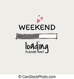 week-end, chargement, progrès, bar.