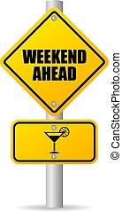 week-end, devant, panneaux signalisations