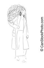 week., negro, coats., moda, blanco, aislado, ilustración, mujer, cima, model., fondo., estilo, mujeres, clothing., tendencia, moderno