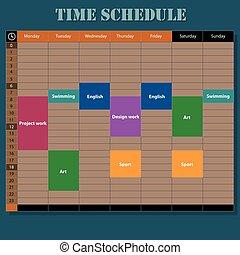 Week schedule illustration, wooden style
