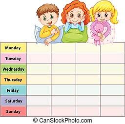 week, zeven, geitjes, dagen, tafel, pajamas