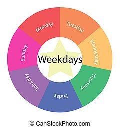 weekdays, circulaire, concept, à, couleurs, et, étoile