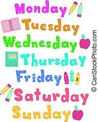 Weekdays School Labels Lettering