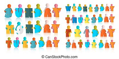 Weekdays Titles Set. Colorful Paper Cut Days of a Week with Men Isolated on White Background.