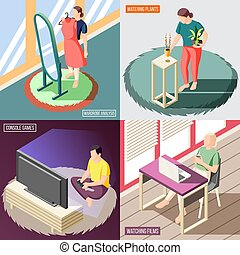 Weekend At Home Isometric Concept
