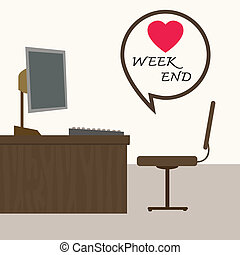 weekend at office, Vector illustration.