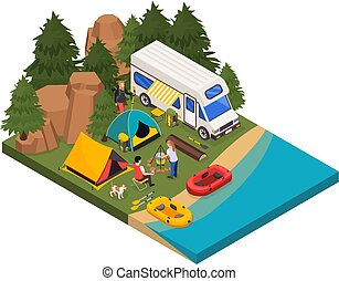Weekend Camping Isometric Composition