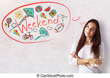 Weekend concept - Attractive smiling young woman dreaming of...