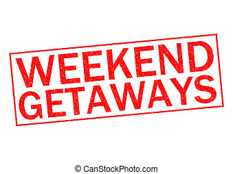 WEEKEND GETAWAYS red Rubber Stamp over a white background.