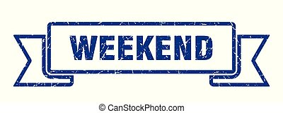 weekend grunge ribbon. weekend sign. weekend banner