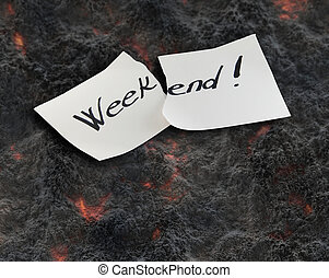 Weekend - Hand writing text on a piece of paper on lawa...
