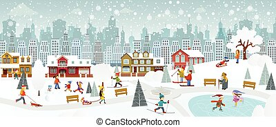 Weekend in the City (Winter) - Vector illustration of...