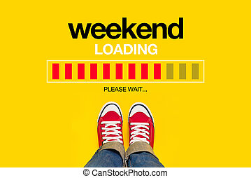Weekend Loading Concept - Weekend Loading Content with Young...