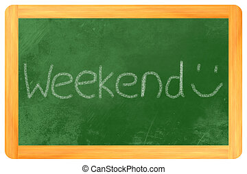 weekend on a blackboard - weekend written on a blackboard