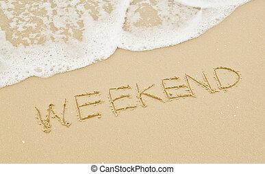 weekend, op, de, strand.