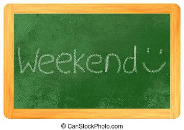 weekend, op, een, bord