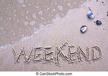 weekend, op het strand