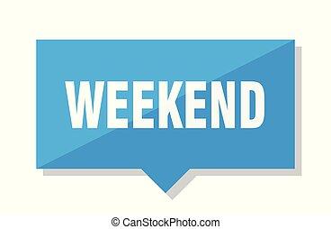 weekend price tag - weekend blue square price tag