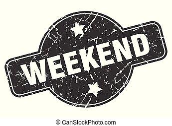 weekend round grunge isolated stamp