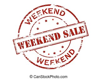 Weekend sale - Rubber stamp with text weekend sale inside,...