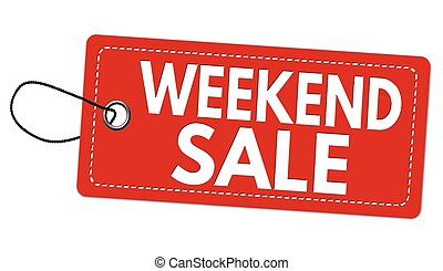 Weekend sale label or price tag on white background, vector...