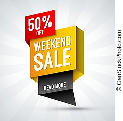 Weekend sale, special offer banner. Discount template. Shopping vector background