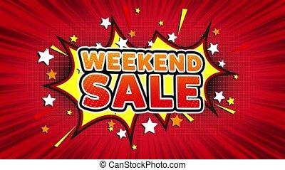 Weekend Sale Word Retro Cartoon Comic Bubbles Seamless loop...